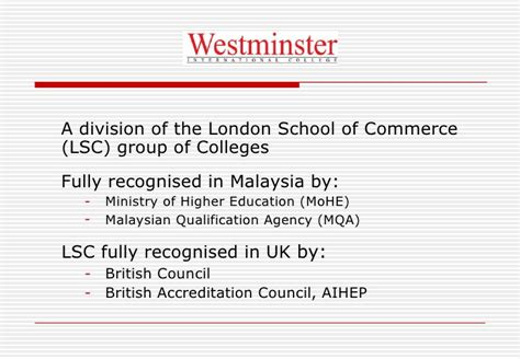 Westminster Mba Malaysia Review by Westminster International College Wic