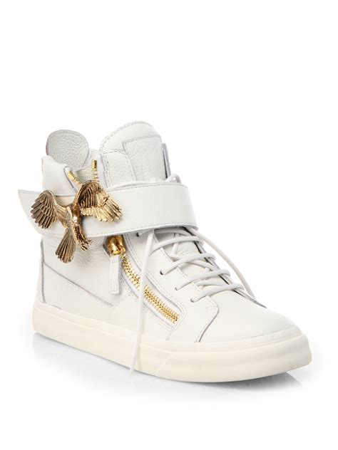 giuseppe zanotti sneakers white giuseppe zanotti eagle leather high top sneakers in white