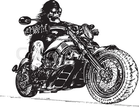 vector hand drawn skeleton rider on motorcycle vintage