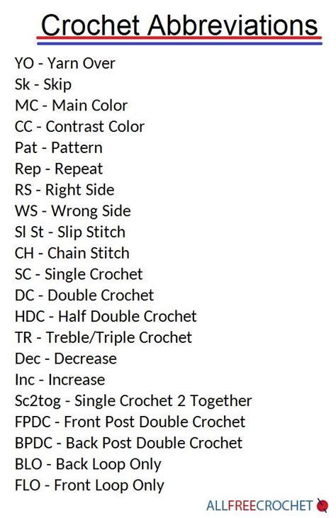 crochet pattern abbreviations crochet abbreviations allfreecrochet com