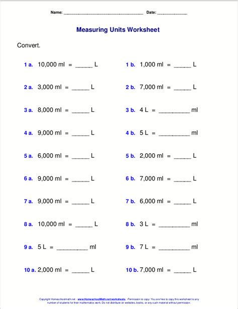 cc to liter conversion metric measuring units worksheets