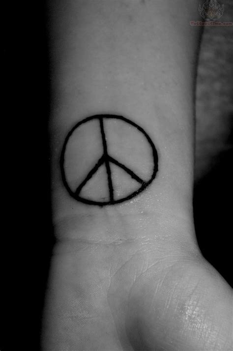 peace sign wrist tattoos black line peace sign