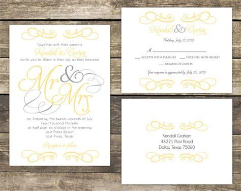 diy printable wedding invitation suites printable wedding invitation suite diy mr and mrs yellow