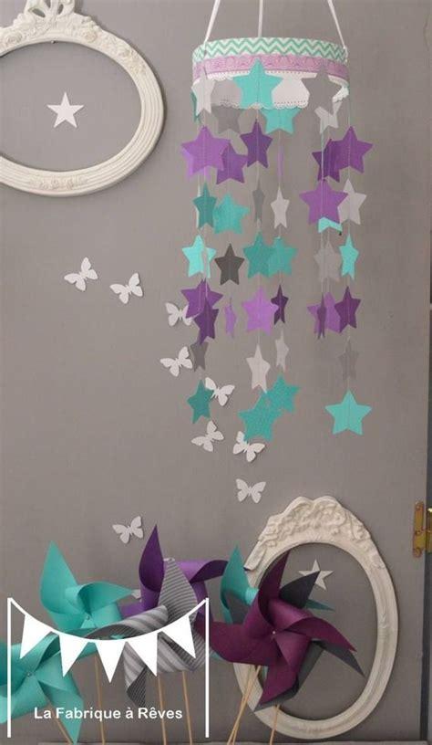 mobile suspension 233 toiles turquoise gris et violet mauve