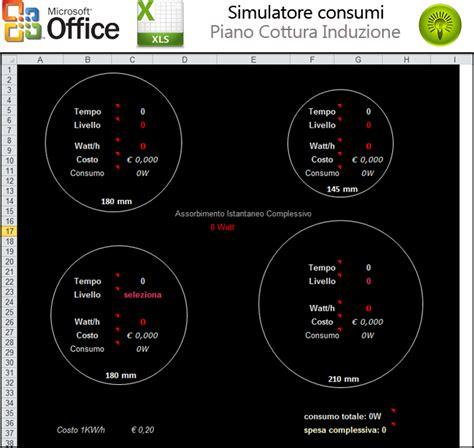 consumi piani cottura induzione simulatore consumi piano cottura induzione excel forum
