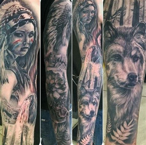 native american tattoo sleeve gorgeous american and wolf