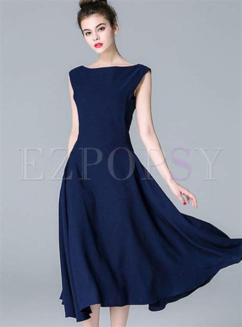 Bjg Blue Dress blue big hem tight waist dress ezpopsy