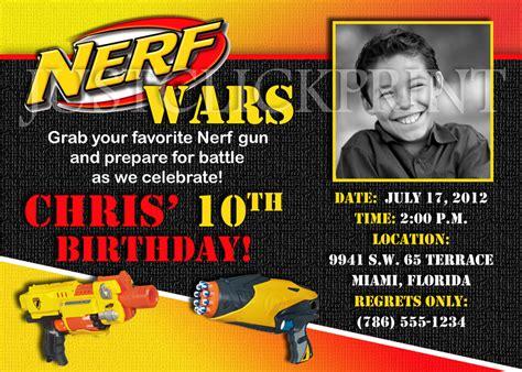 free printable birthday invitations nerf nerf gun wars birthday photo invitation printable 183 just