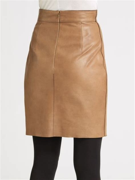 akris punto leather pencil skirt in brown caramel lyst