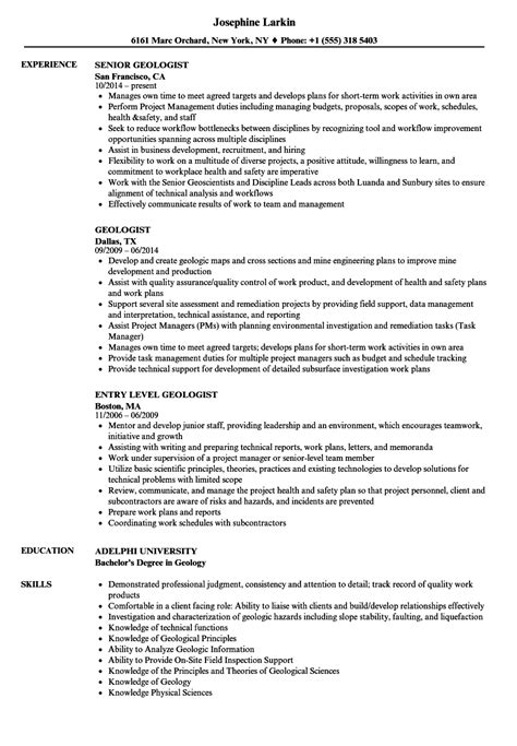 geologist resume template 28 images sle resume
