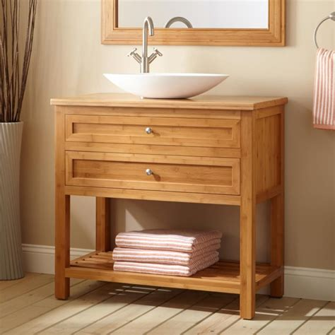 open bathroom vanity bathroom narrow bamboo bathroom vanity with two drawers
