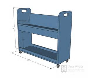 ana white library book cart diy projects