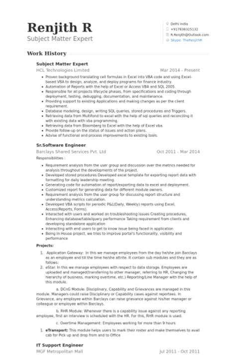 subject matter expert resume sles visualcv resume sles database subject matter expert doc resume 4 5 2011 2 2 1 1