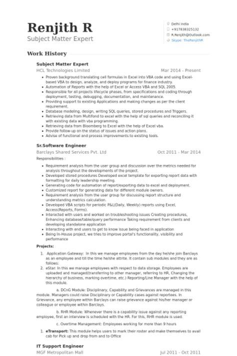subject matter expert resume sles visualcv resume