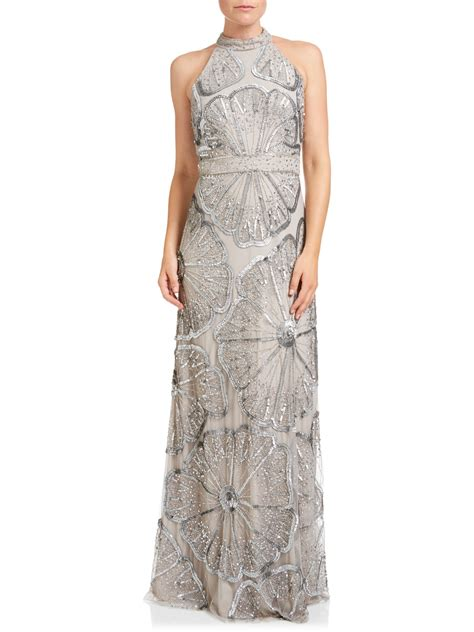 beaded halter dress papell halter turtleneck beaded gown platinum
