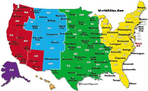 us map with states and timezones current dates and times in u s states map