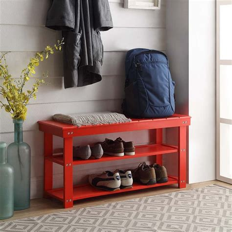 red entryway bench utility mudroom entryway bench in red 203300r