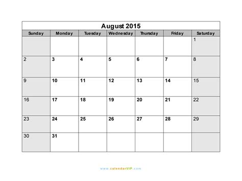 August Printable Calendar 2015 Calendar 2015 August New Calendar Template Site