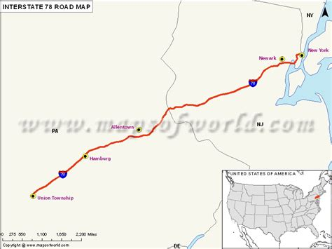 map of usa with interstate routes us interstate 78 i 78 map union twp pennsylvania to