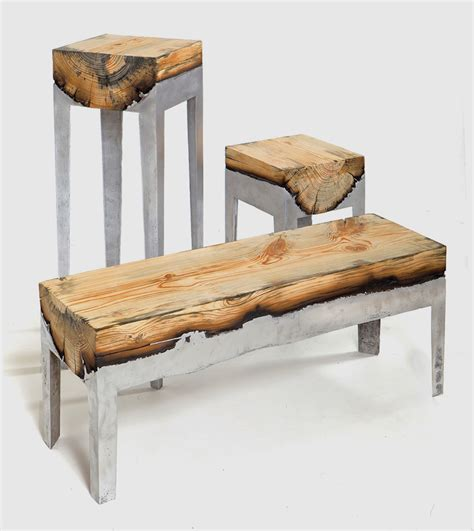 pieces of furniture wood casting by hilla shamia molten aluminium and charred