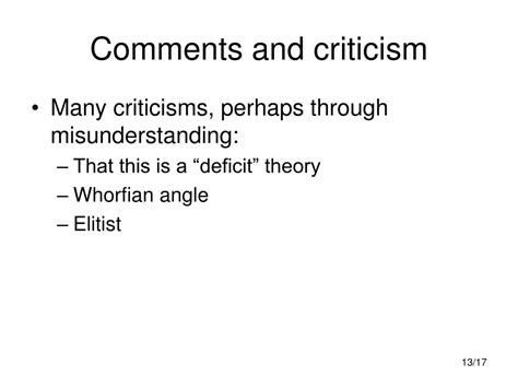 comments critics ppt varieties of english powerpoint presentation id 624615