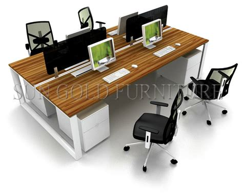 four person office desk fashion moddular linear space saving design melamine