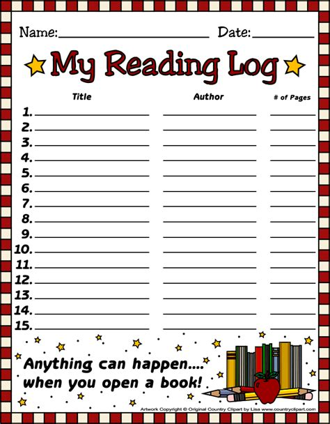 kindergarten reading log template free reading log templates from country clipart by