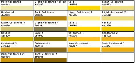 gold color code color codes gold and color charts on