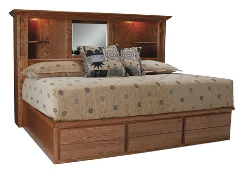 Queen Size Storage Bed With Bookcase Headboard Houston