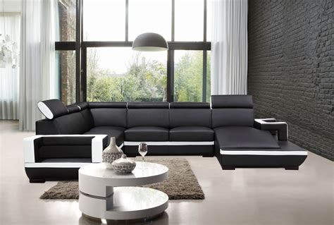 modern white bonded leather sectional sofa divani casa 5102 modern black white bonded leather