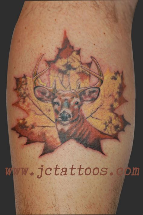 hunting tattoos designs buck deer canadiana maple leaf country