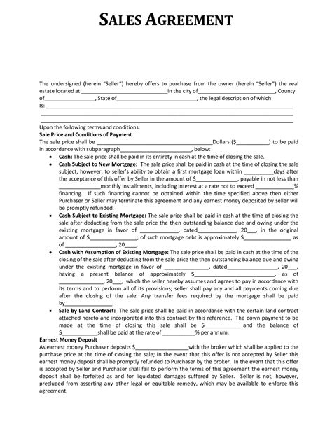 property sales agreement template sales agreement template real estate