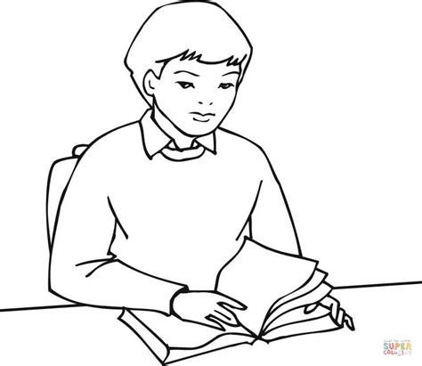 a boy student reading a book coloring page free