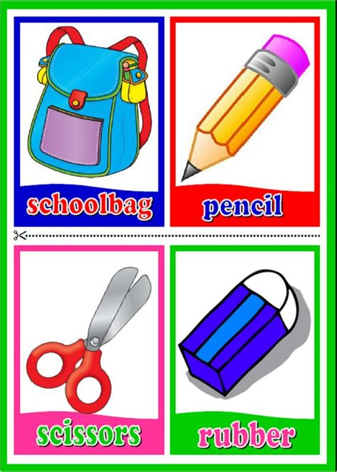 classroom cards classroom objects flashcards