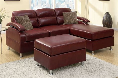 red leather sofa sectional poundex kade f7686 red leather sectional sofa and ottoman