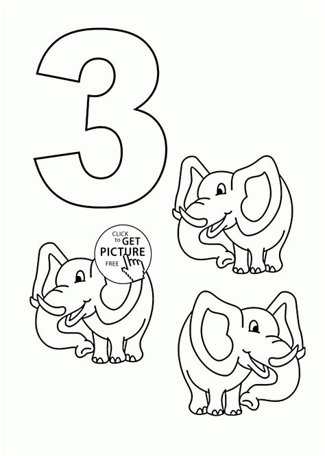 coloring page of the number 3 number 3 coloring pages for kids counting sheets