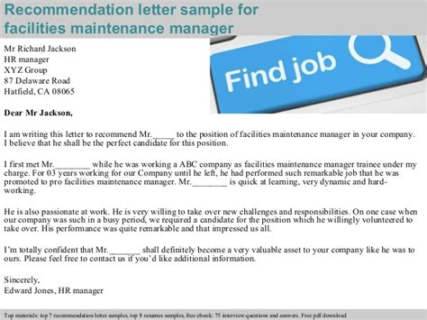 Reference Letter For Maintenance Facilities Maintenance Manager Recommendation Letter
