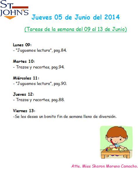 tarea para el lunes 8 de junio del 2015 preescolar tarea espa 241 ol