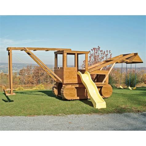 Amish Swing Sets by Amish Made 23x12 Ft Bulldozer And Backhoe Playground