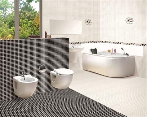 Modern Black And White Bathroom Tile Designs | modern black and white bathroom tile designs