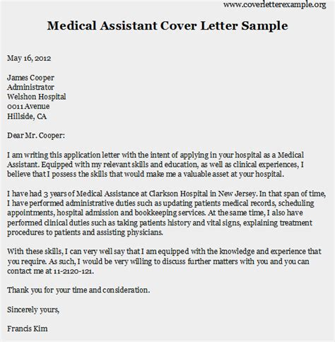 cover letter exles for medical assistant eskindria com