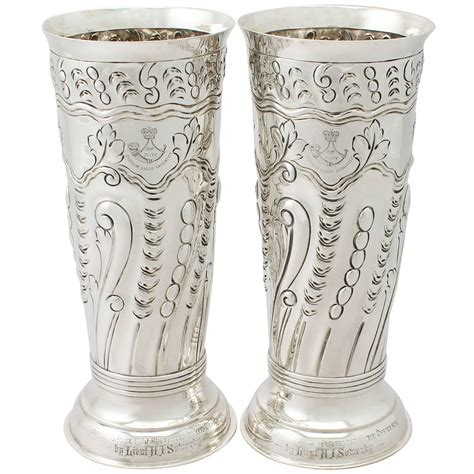 Silver Vases For Centerpieces by Pair Of Sterling Silver Vases Centerpieces Antique