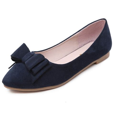flat pointy toe shoes siketu s classic pointy toe flat shoes with bowknot