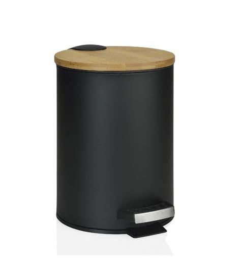 Poubelle Salle De Bain Bambou poubelle de salle de bain en m 233 tal noir et bambou 224 p 233 dale