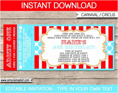 carnival event invitation ticket template 12 carnival ticket invitation template prwtv templatesz234