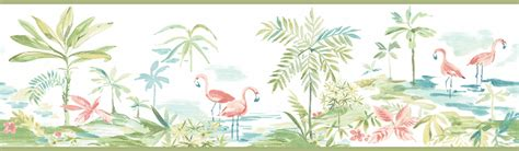 flamingo wallpaper border pink flamingos lagoon green wallpaper border 3113 12221b