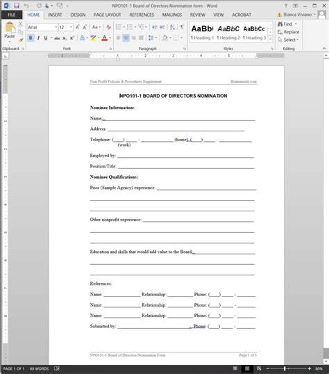 board member application template board of directors nomination template