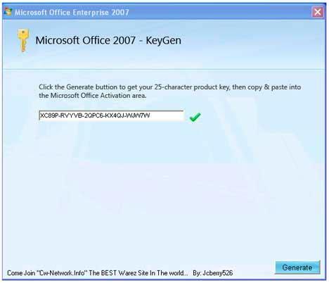microsoft office 2007 cd key generator
