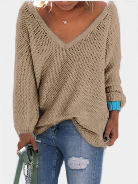 Stewartbrown Plunging V Neck Sweater by Sweaters Shop Sweaters For Yoins