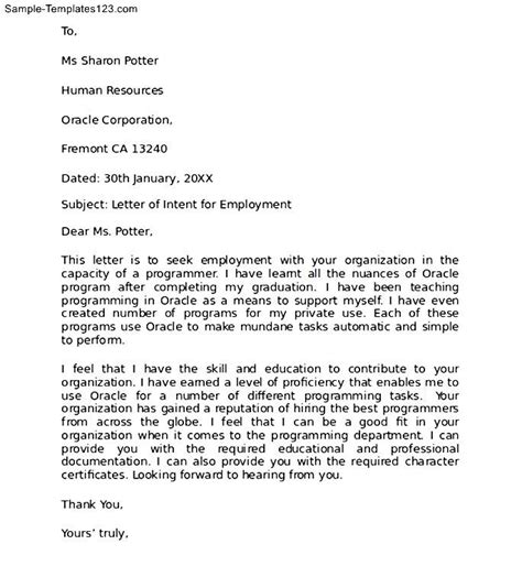 Free Letter Of Intent To Hire Template Free Sle Letter Of Intent For Employment Sle Templates